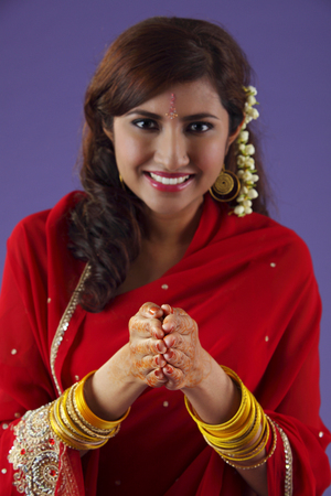 indian woman putting hand together Stock Photo