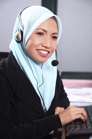 Telephonist at work Foto de archivo
