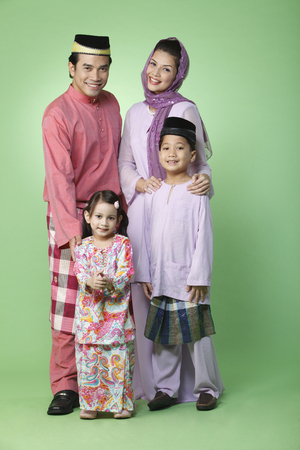 family portrait with traditional outfit 스톡 콘텐츠