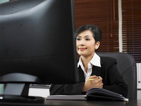 businesswoman focus on computer