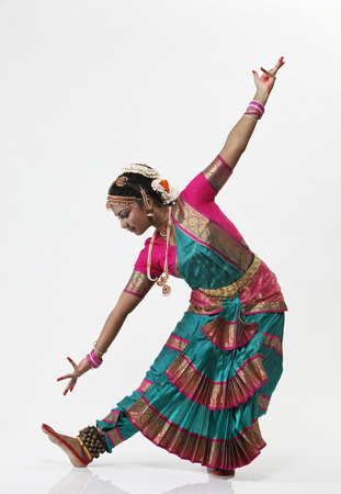 Portrait of Indian woman performing traditional dance
