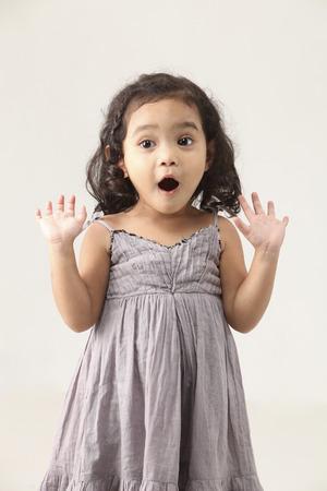 portrait of a malay little girl surprise 免版税图像