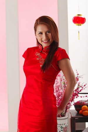 portrait of the young woman with cheongsam