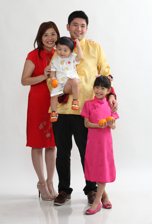 chinese family with traditional cothing together Stock Photo