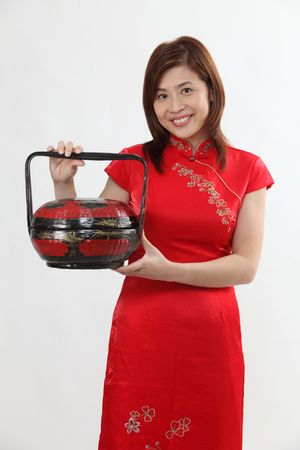 chinese woman with traditional clothing greeting