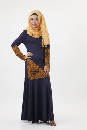 full length of the malay woman show posing Standard-Bild