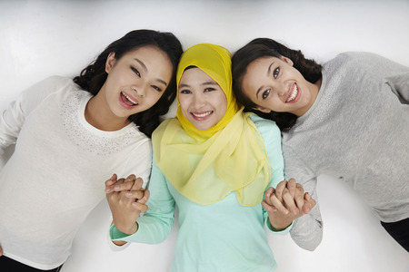 top view three multi racial malaysian arrange in a row