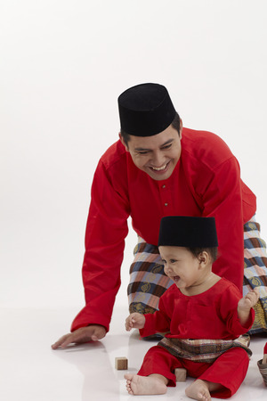malay family ,father and son Stok Fotoğraf