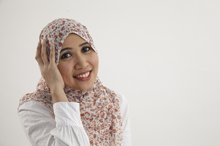portrait of happy malay woman 스톡 콘텐츠