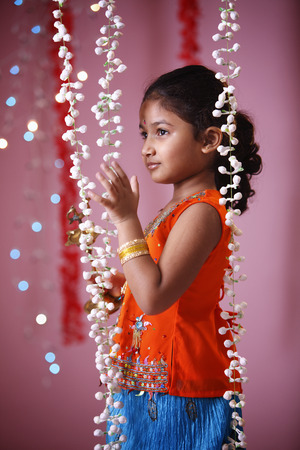 Side view of Indian girl in traditional costume