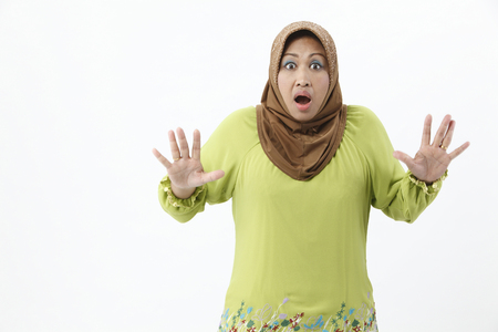 Senior woman with surprise expression Imagens