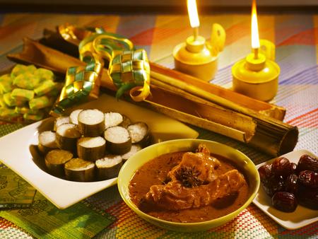 malay traditional festive food with pelita