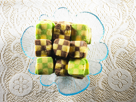 traditional malay cookies in glass plate Stock Photo