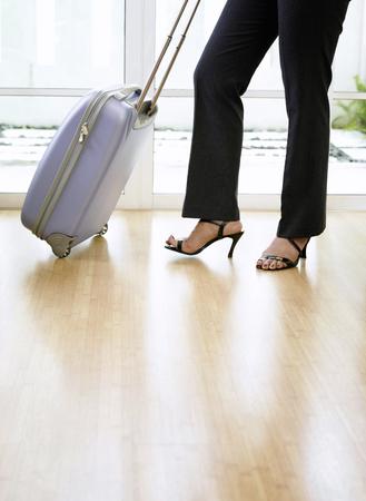 primer plano, de, mujer, con, maleta