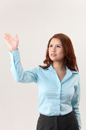 woman using invisible touch screen