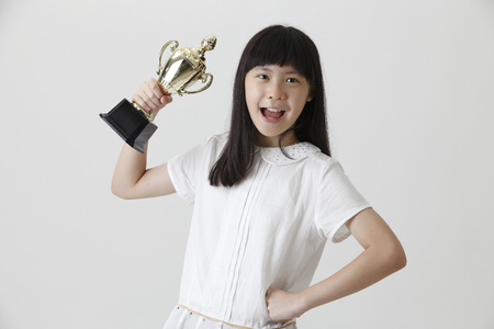chinese girl happy to own a trophy