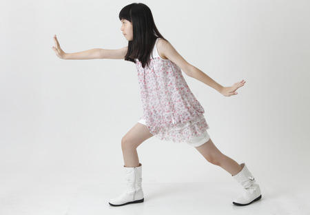 chinese girl with fighting position