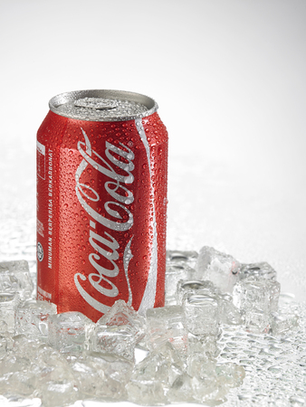 KUALA LUMPUR, MALAYSIA - April 2nd 2015.Photo of a can of Coca-Cola . The brand is one of the most popular soda products in the world and it is sold almost everywhere