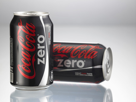 KUALA LUMPUR, MALAYSIA - April 2nd 2015.Photo of a can of Coca-Cola Zero . The brand is one of the most popular soda products in the world and it is sold almost
