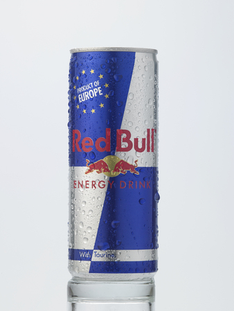 Kuala Lumpur Malaysia December 28, 2015,Can of cold Red Bull Energy Drink on white background