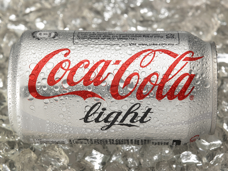 KUALA LUMPUR, MALAYSIA - April 2nd 2015.Photo of a can of Coca-Cola light . The brand is one of the most popular soda products in the world and it is sold almost everywhere Editorial