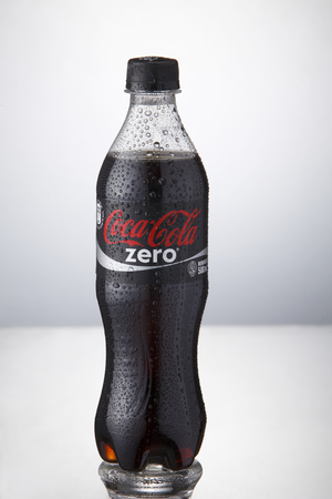 Kuala Lumpur,Malaysia 9th April 2015,bottle of the coca cola zero with water drop on the white background