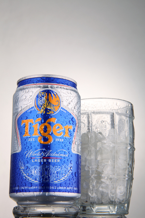 KUALA LUMPUR, 1st May 2015,tiger beer with glass of crushed ice