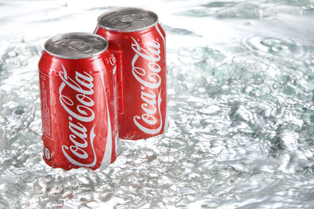 KUala Lumpur,Malaysia 27th April 2015, 325ml coca cola can with water splash Editorial