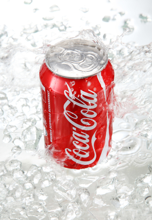 kuala Lumpur,Malaysia 15th April 2015,Editorial photo of Classic Coca-Cola can in crushed ice.