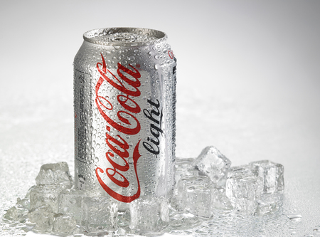 KUALA LUMPUR, MALAYSIA - April 2nd 2015.Photo of a can of Coca-Cola light . The brand is one of the most popular soda products in the world and it is sold almost everywhere Editoriali
