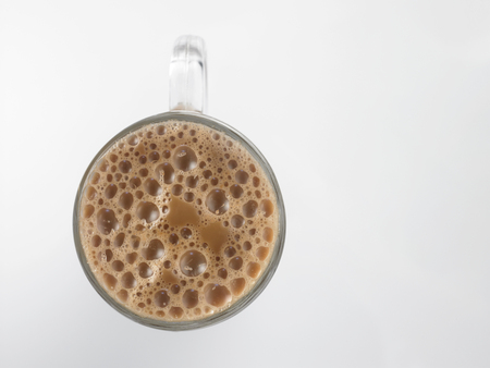 Top view Tea with milk or Teh Tarik in Malaysia