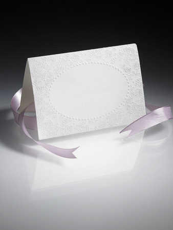 blank greeting card with ribbon