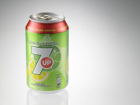KUALA LUMPUR, MALAYSIA - July 2nd 2015,Can of 7 Up drink isolated on white. 7 Up is lemon-lime flavored drink. 7 Up was created by Charles Leiper Grigg in 1929