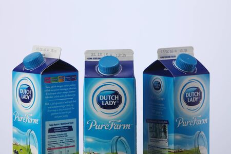 KUALA LUMPUR, MALAYSIA - Feb 24, 2016: A set of low fat milk product for family. Dutch Lady Milk Industries Bhd. is a manufacturer of dairy products in Malaysia since the 1950s