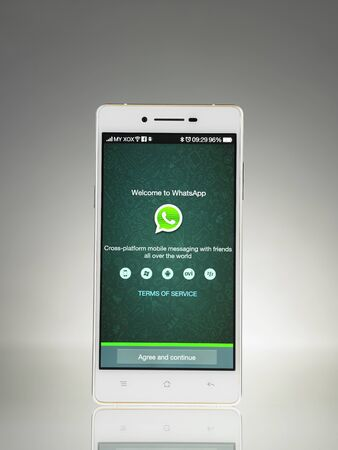 KUALA LUMPUR, MALAYSIA - July 2nd 2015,WhatsApp Messenger is a proprietary, cross-platform instant messaging subscription service for smartphones with Internet access founded in 2009. Editorial
