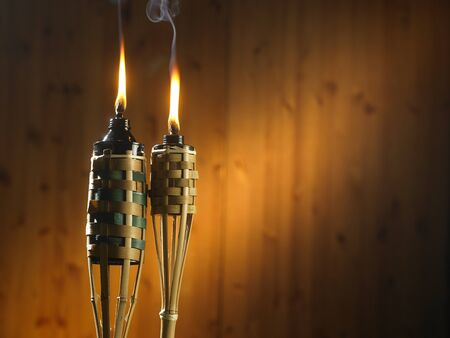 bamboo torch or pelita icon of hari raya Stock Photo