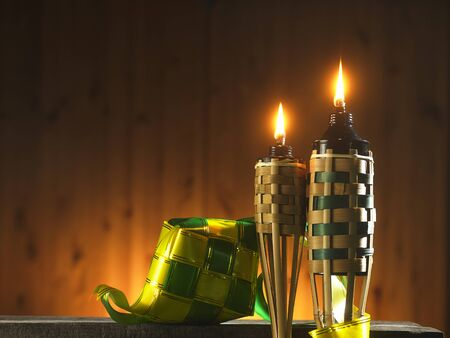 bamboo torch or pelita and ribbon ketupat icon of hari raya