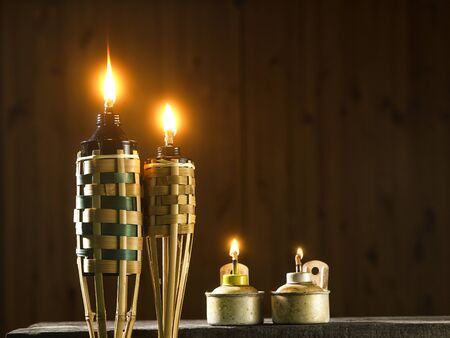 bamboo torch and oil lamp or pelita icon of hari raya Stock Photo