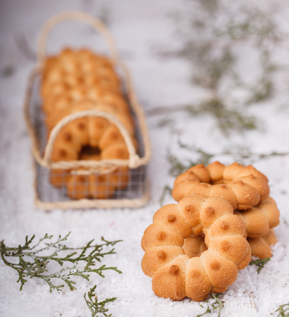 shortbread: Christmas Shortbread cookie rings.
