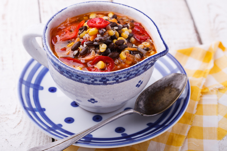 black bean: Soup with black beans,buckwheat, red pepper and corn.