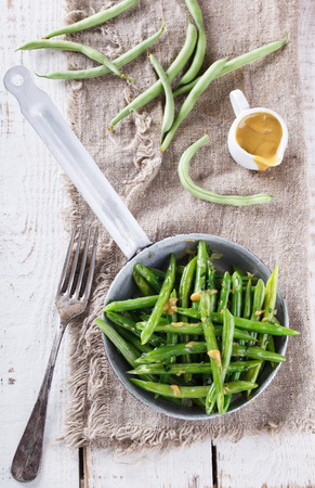 greenbeans: Salad with green beans and mustard sauce. Stock Photo