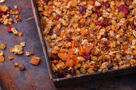Granola from several types of cereals with nuts,honey,raisins Reklamní fotografie