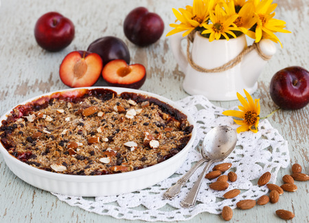 plum pudding: Crumble with plums.selective focus