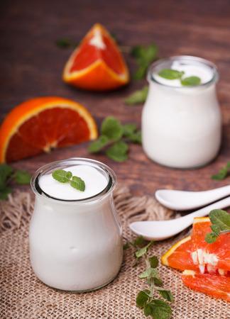 Yogrut in a jar,homemade 写真素材