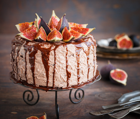 chocolate cakes: Cake with figs and chocolate glaze.selective focus Stock Photo