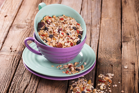 Cereals in colorful bowls.