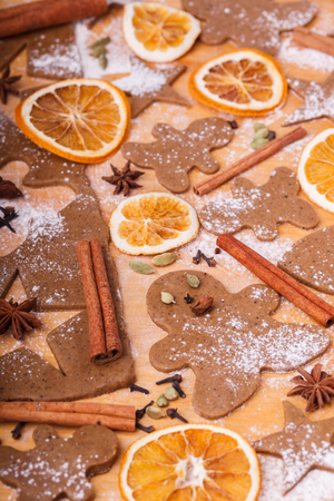 Making gingerbread cookies. Christmas baking background dough . Stock Photo