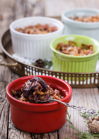 plum pudding: Plum crumble. New year and Christmas biscuits.selective focus.