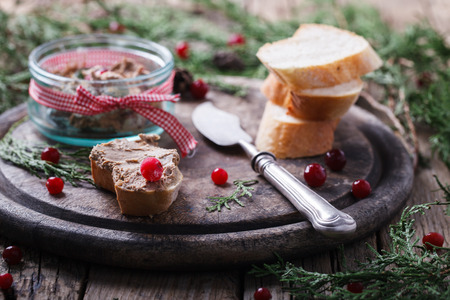 Liver pate with cranberries .Appetizer for Christmas.selective focus.