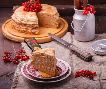 Layered cake made of pancakes.Shrovetide,a traditional Russian holiday.selective focus.